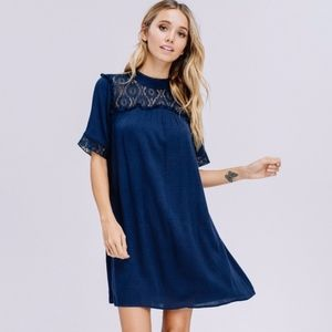 Navy Lace Top Dress Sizes S, M and L